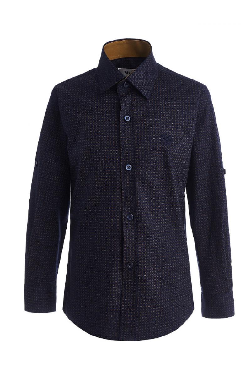 Рубашка узорчатая для мальчика сине-коричневого цвета