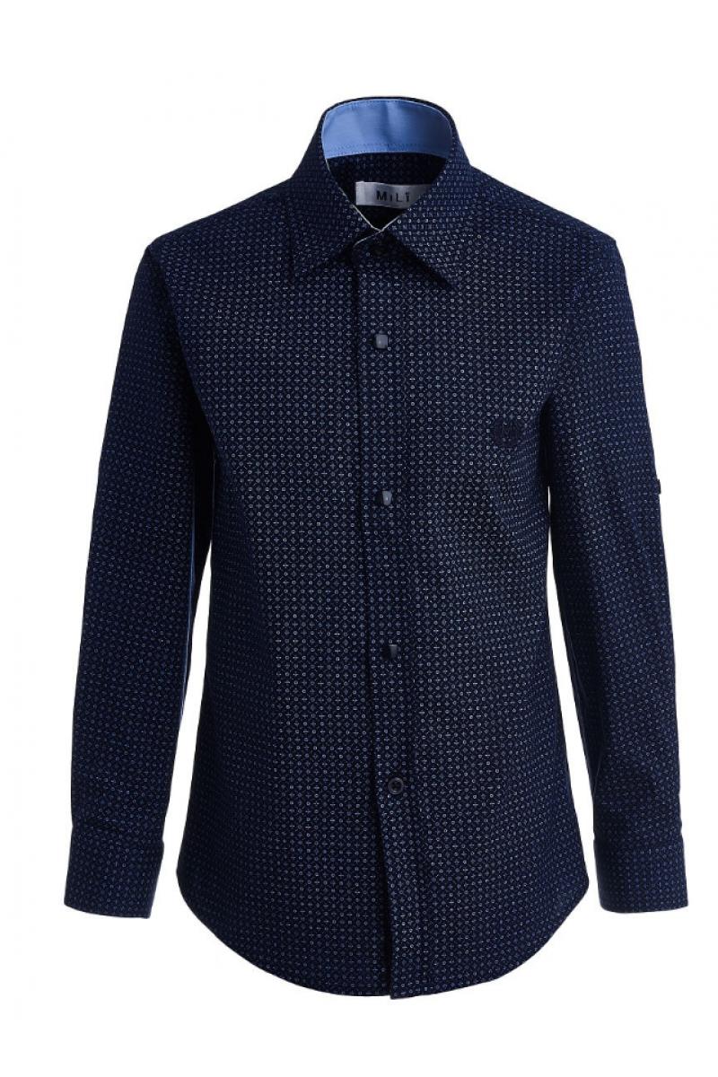 Рубашка узорчатая для мальчика синего цвета