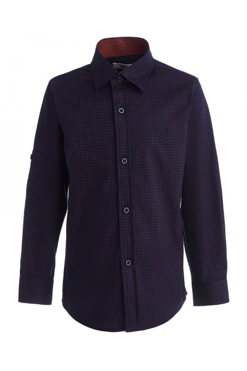 Рубашка узорчатая для мальчика темно-синего цвета
