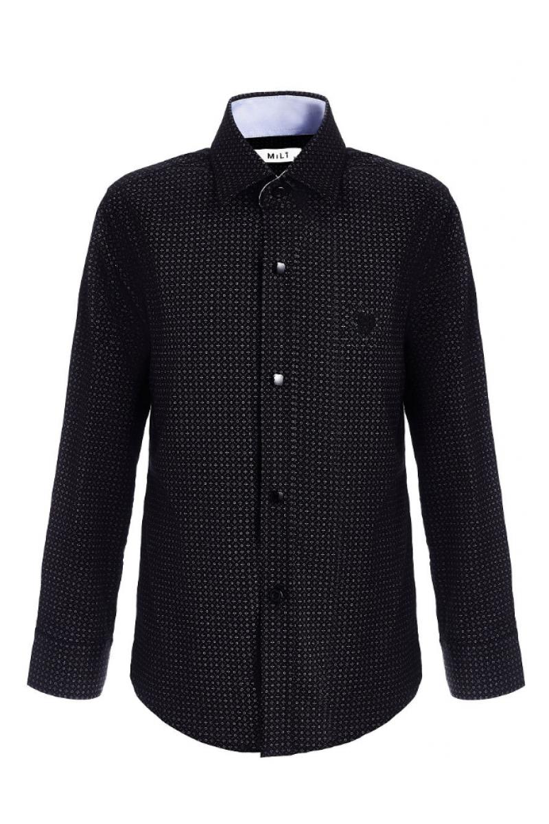 Рубашка узорчатая для мальчика черного цвета