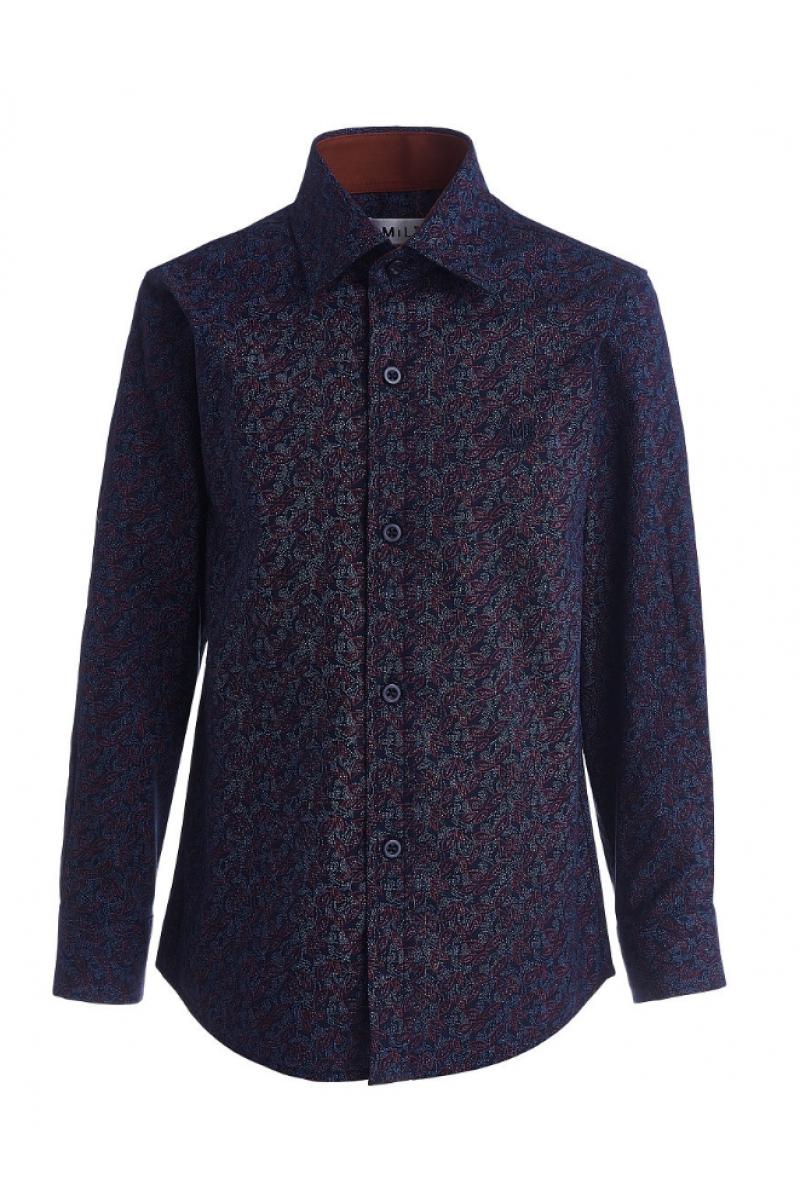 Сине-бордовая рубашка для мальчика