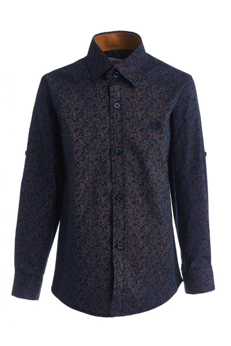 Сине-коричневая рубашка для мальчика