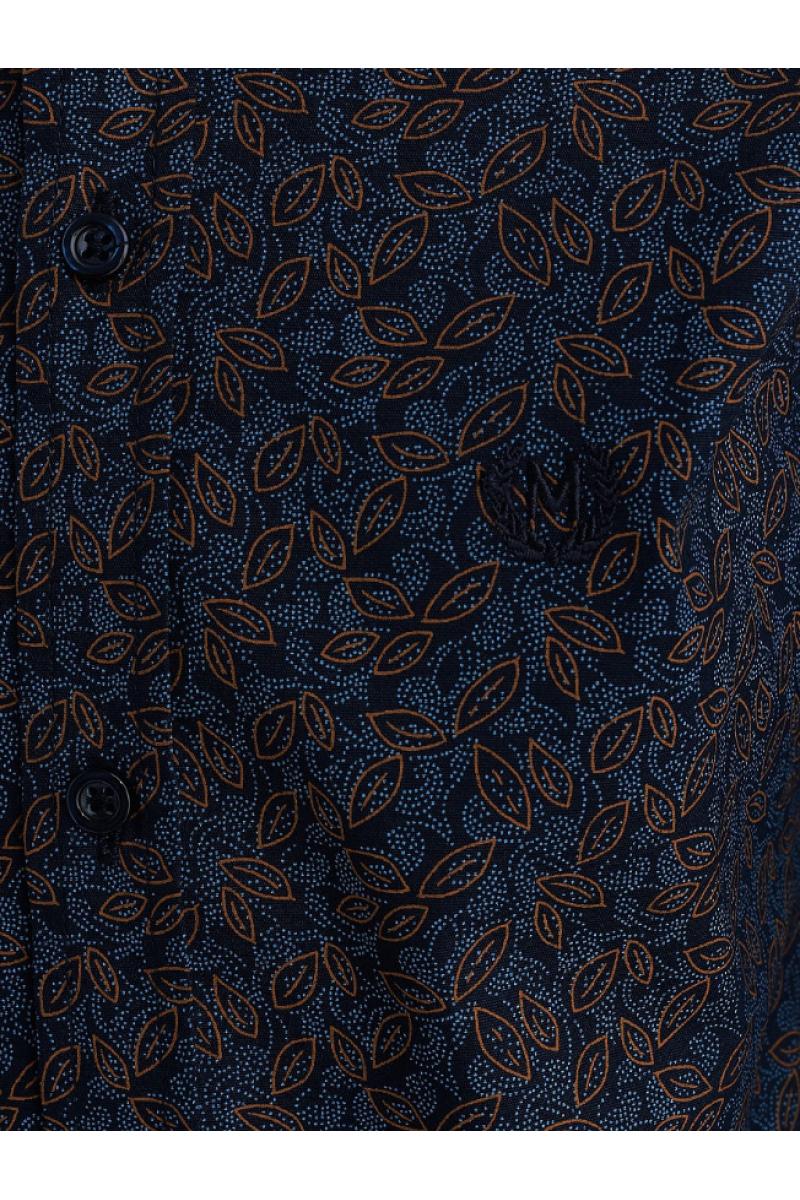 Сине коричневая рубашка на пуговицах для мальчика