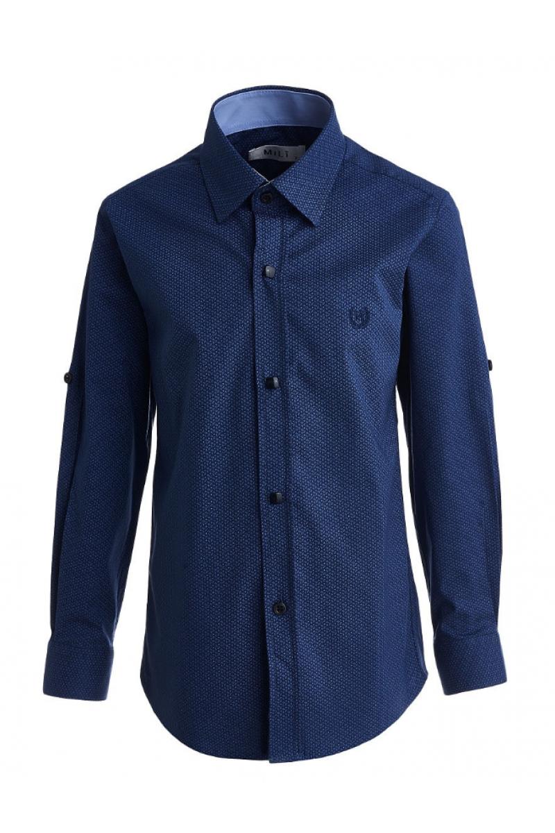 Рубашка с геометрическим изображением темно-синяя