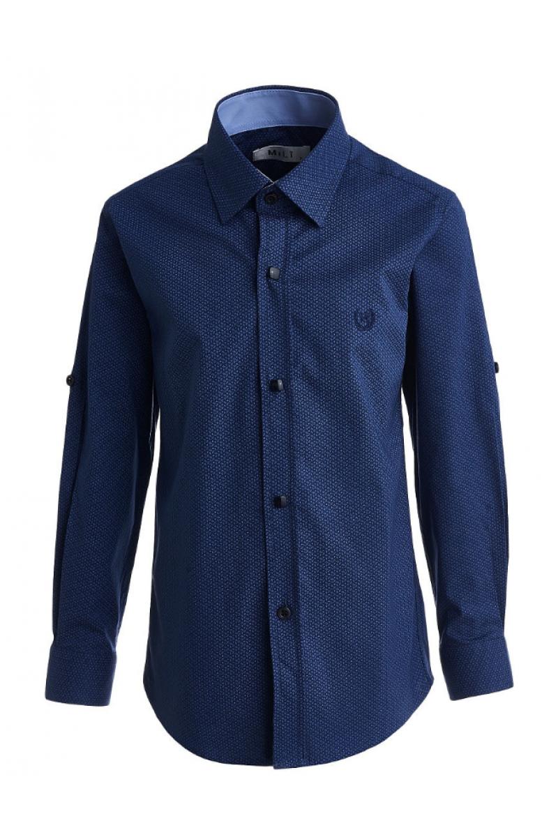 Рубашка на пуговицах с геометрическим изображением темно-синяя