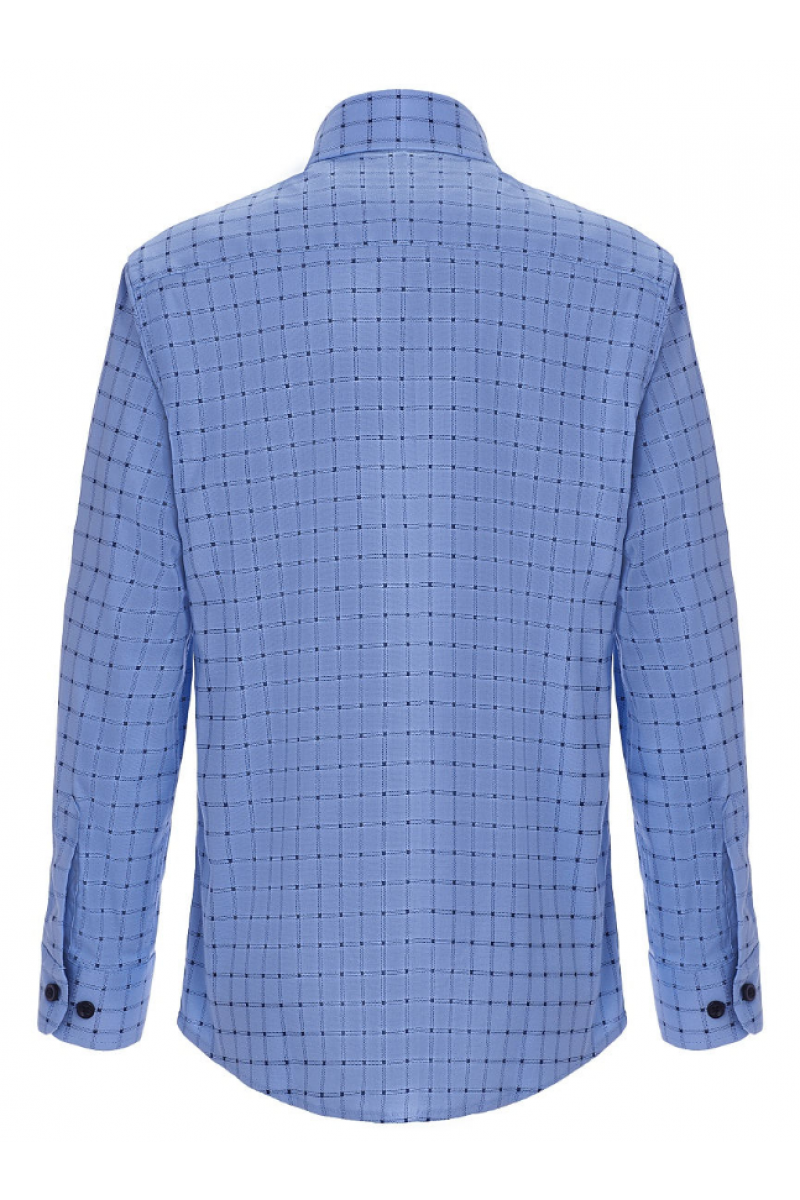 Рубашка в клеточку для мальчика голубая