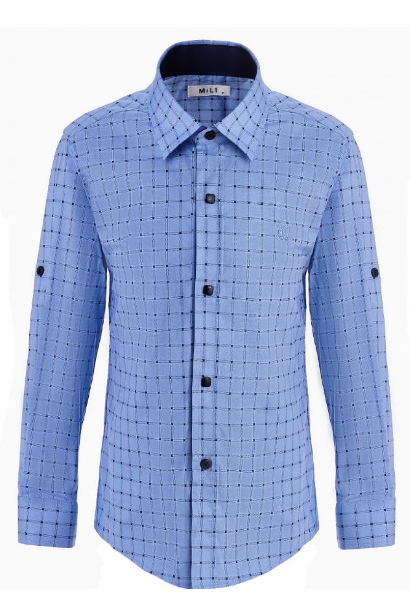 Рубашка в клеточку для мальчика светло-голубая