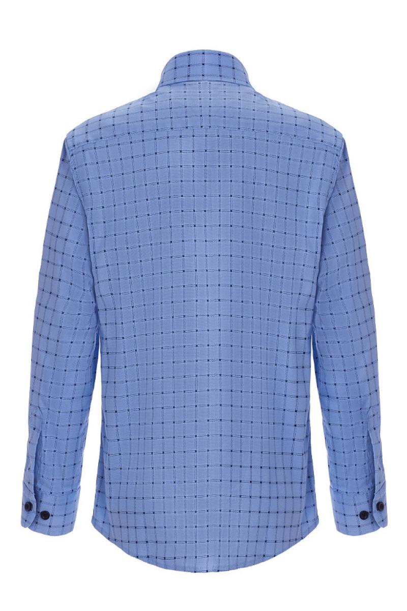 Рубашка в клеточку для мальчика голубого цвета