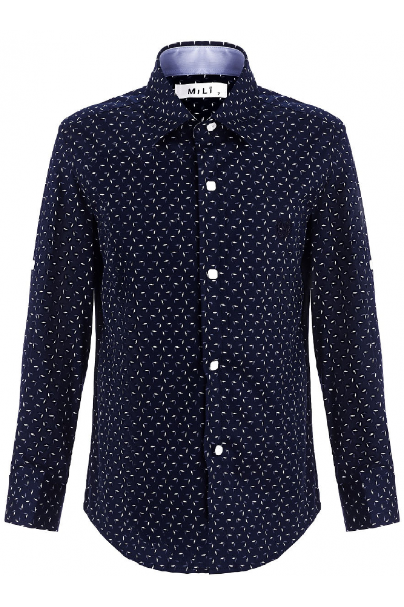 Рубашка для мальчика с узорами темно-синяя