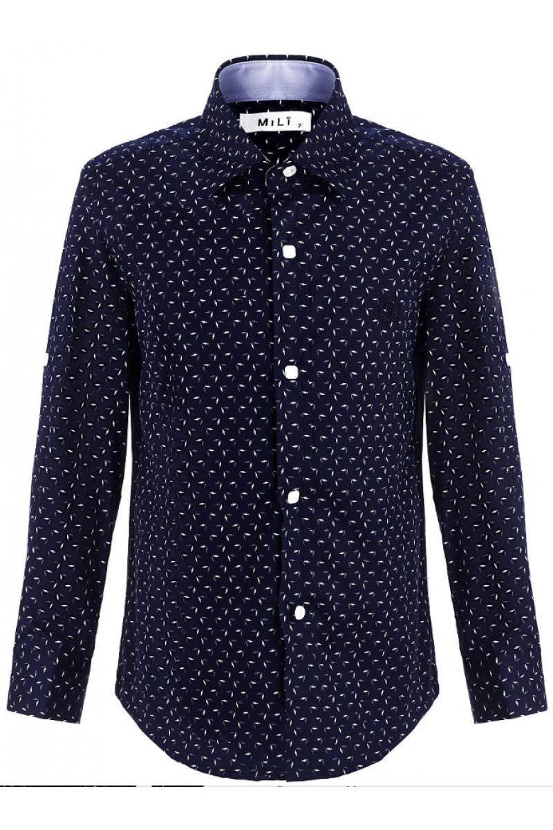 Рубашка для мальчика с узорами черная