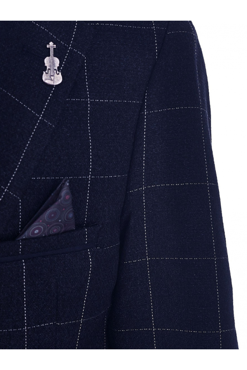 Клетчатый пиджак для мальчика, темно-синий