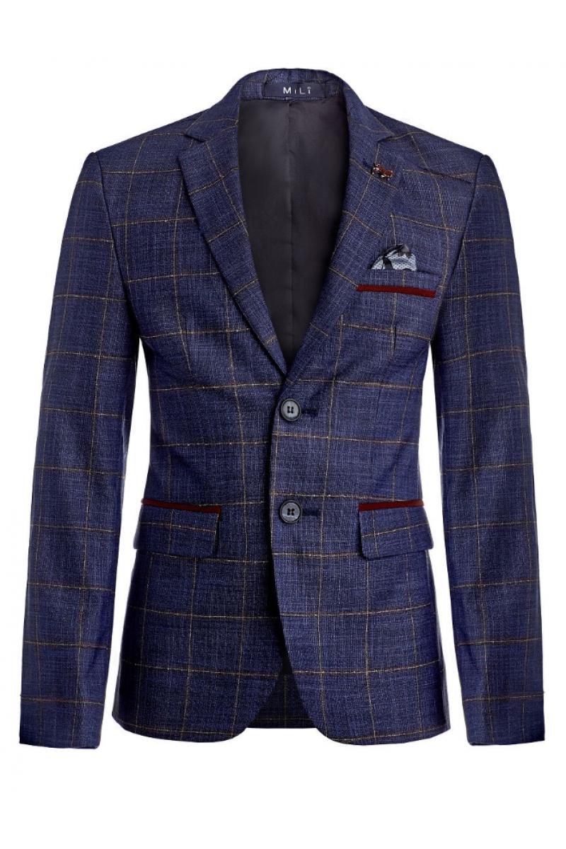 Пиджак для мальчика нарядный, синий с бордовым