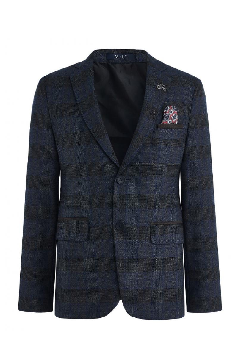 Приталенный нарядный пиджак для мальчика, серо-синий