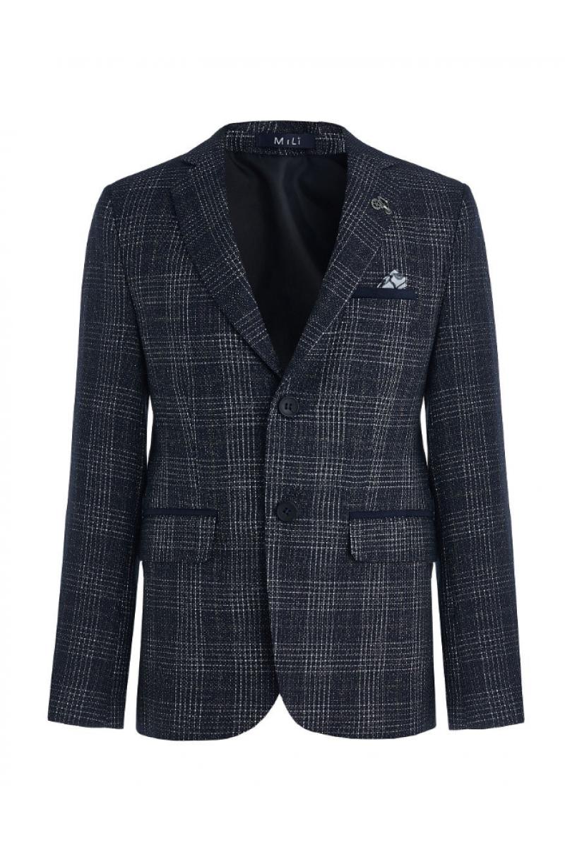 Приталенный нарядный пиджак для мальчика, синий