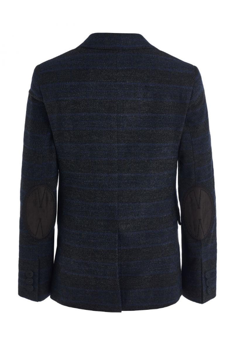 Элегантный пиджак для мальчика серого цвета с синим