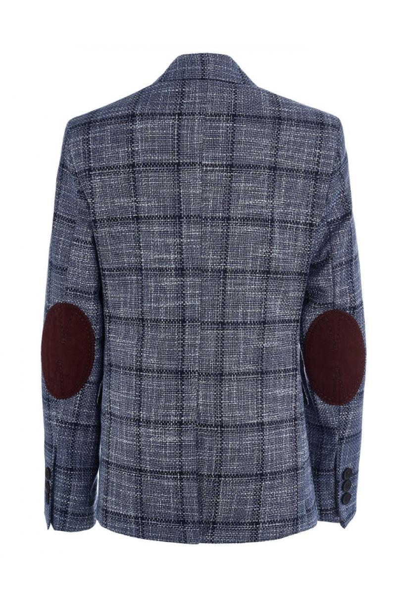 Пиджак для мальчика нарядный в клеточку, голубой