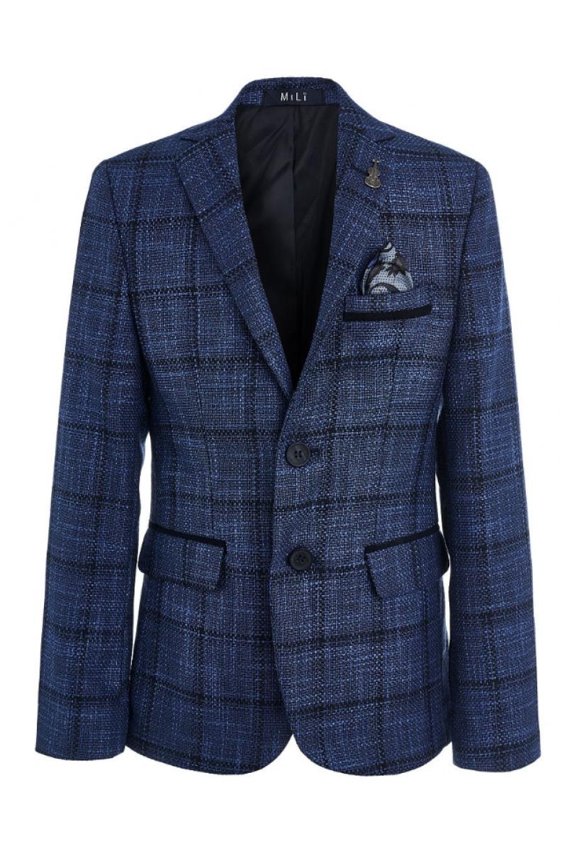 Пиджак для мальчика нарядный в клеточку, синий