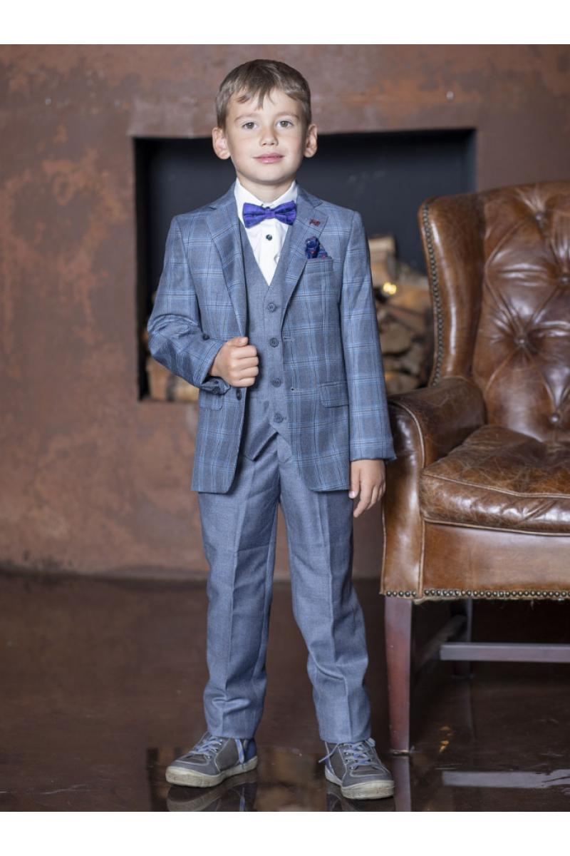Костюм для мальчика модный приталенный светло-синий