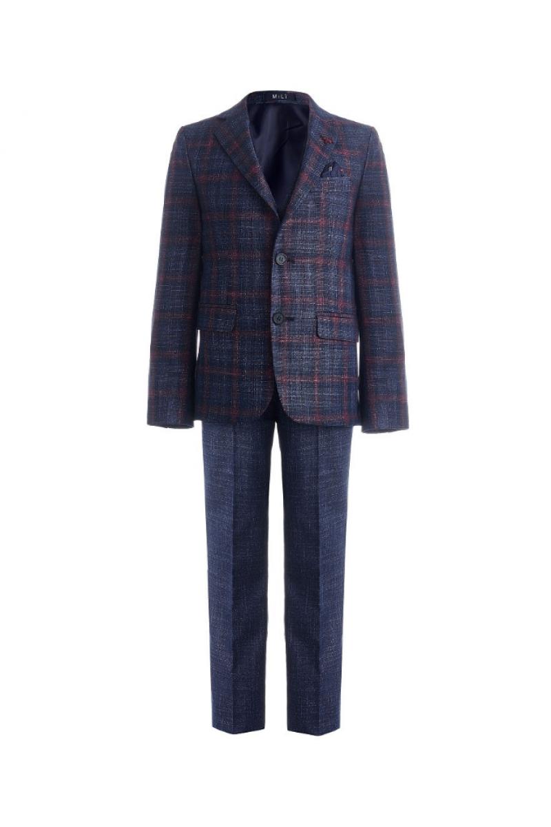Костюм для мальчика модный приталенный сине-бордовый