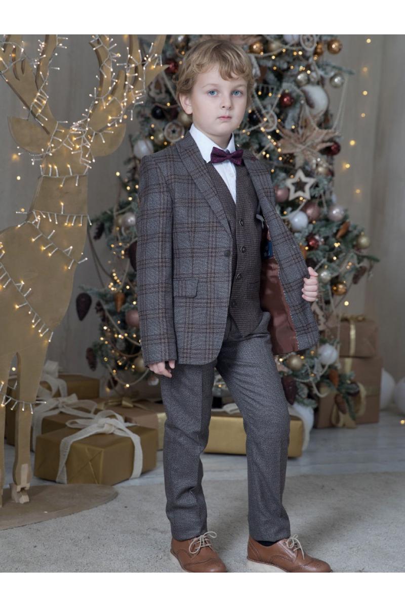 Костюм для мальчика с классическим пиджаком сине-красный серо-малиновый