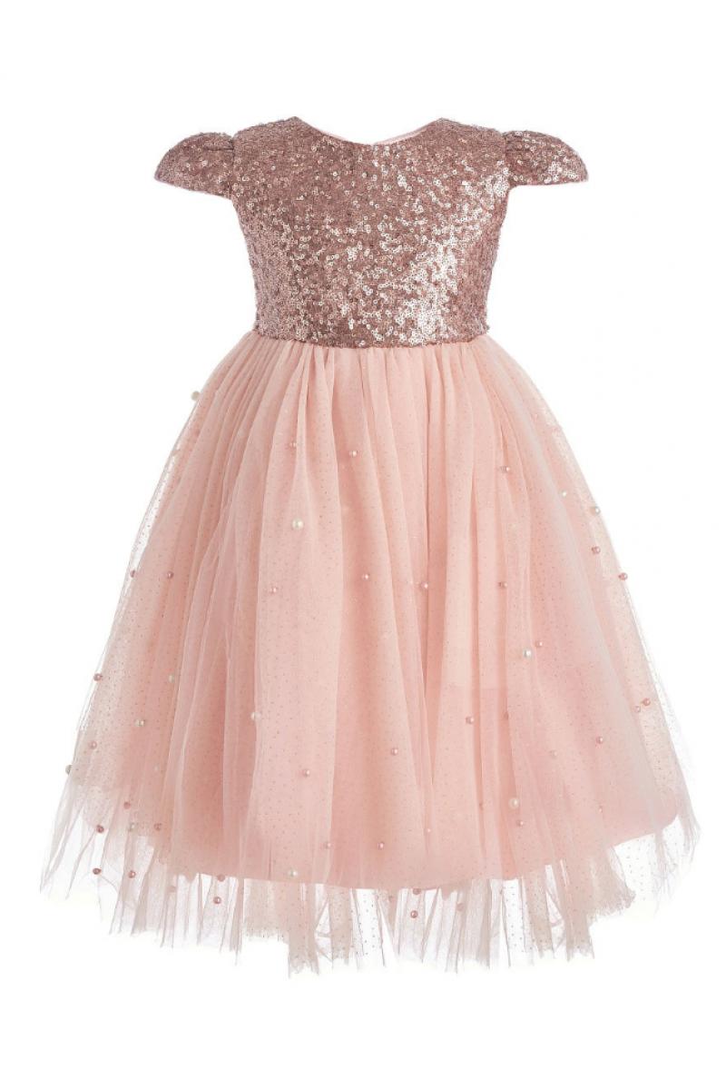 Платье для девочки длинное персиковое