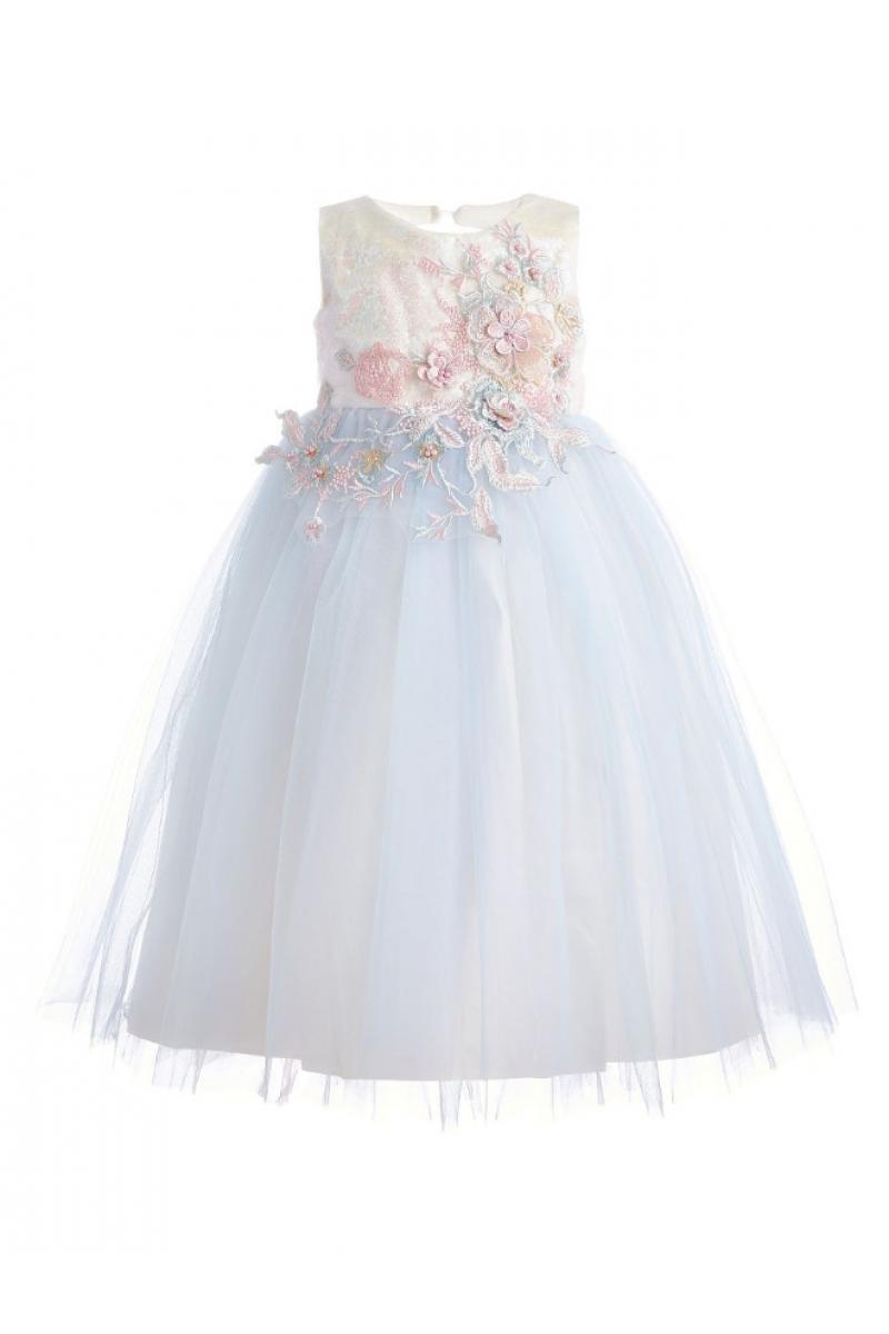 Красивое воздушное платье голубое