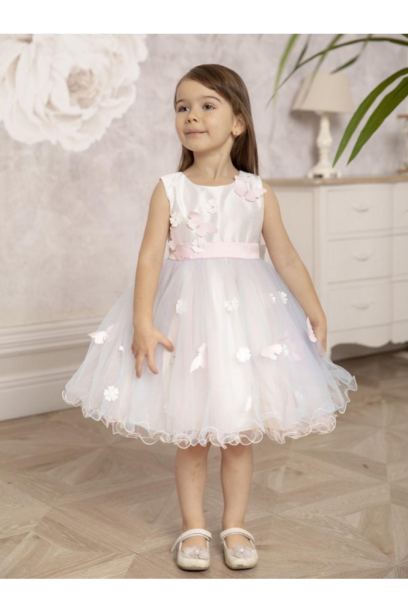Милое платье с бабочками розовое