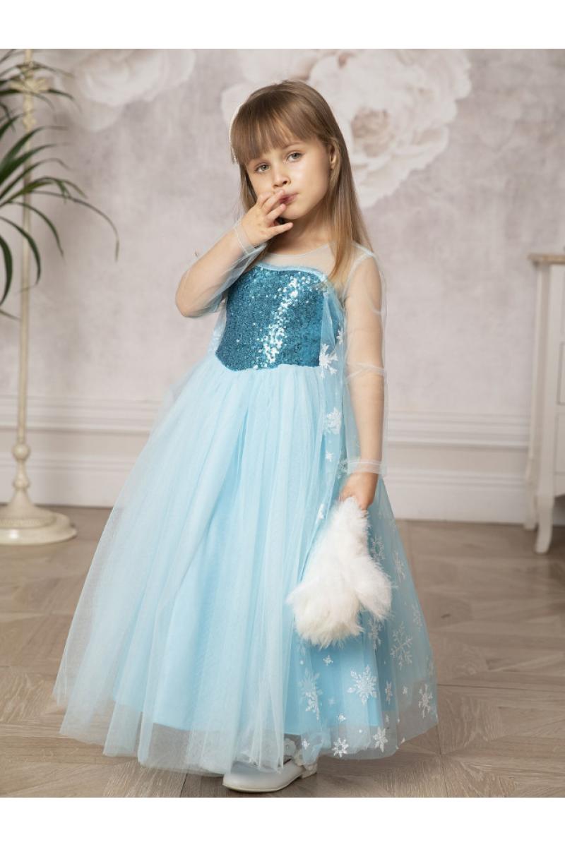Платье длинное голубое