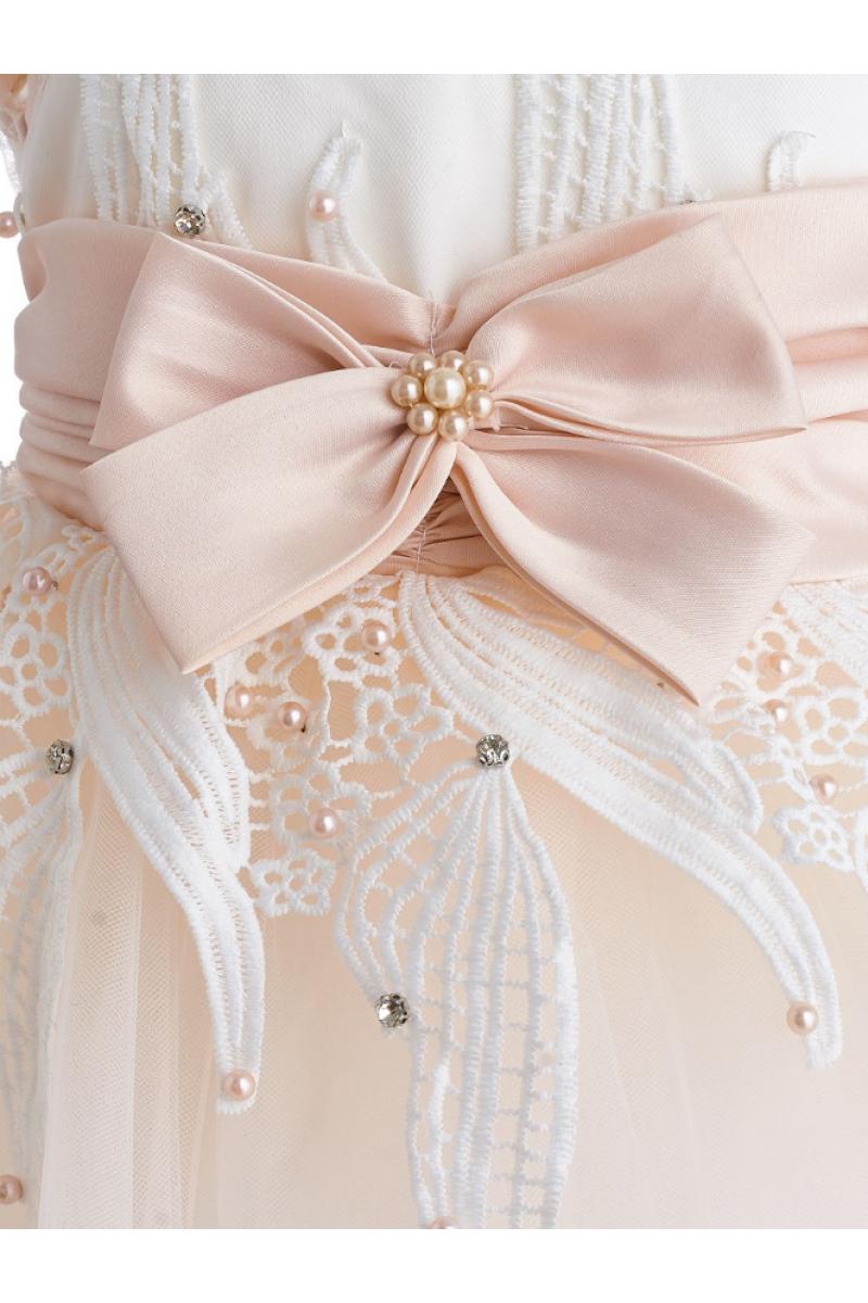Платье с бантом розовое