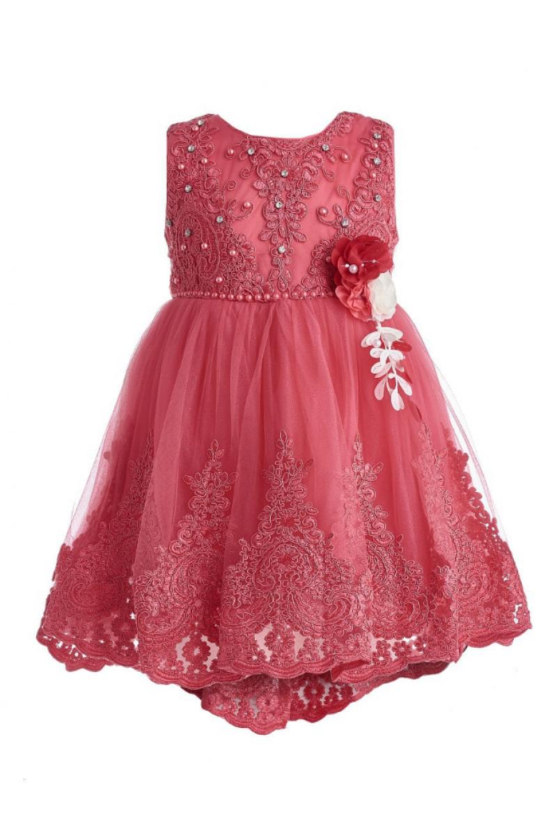 Платье с жемчугом красное