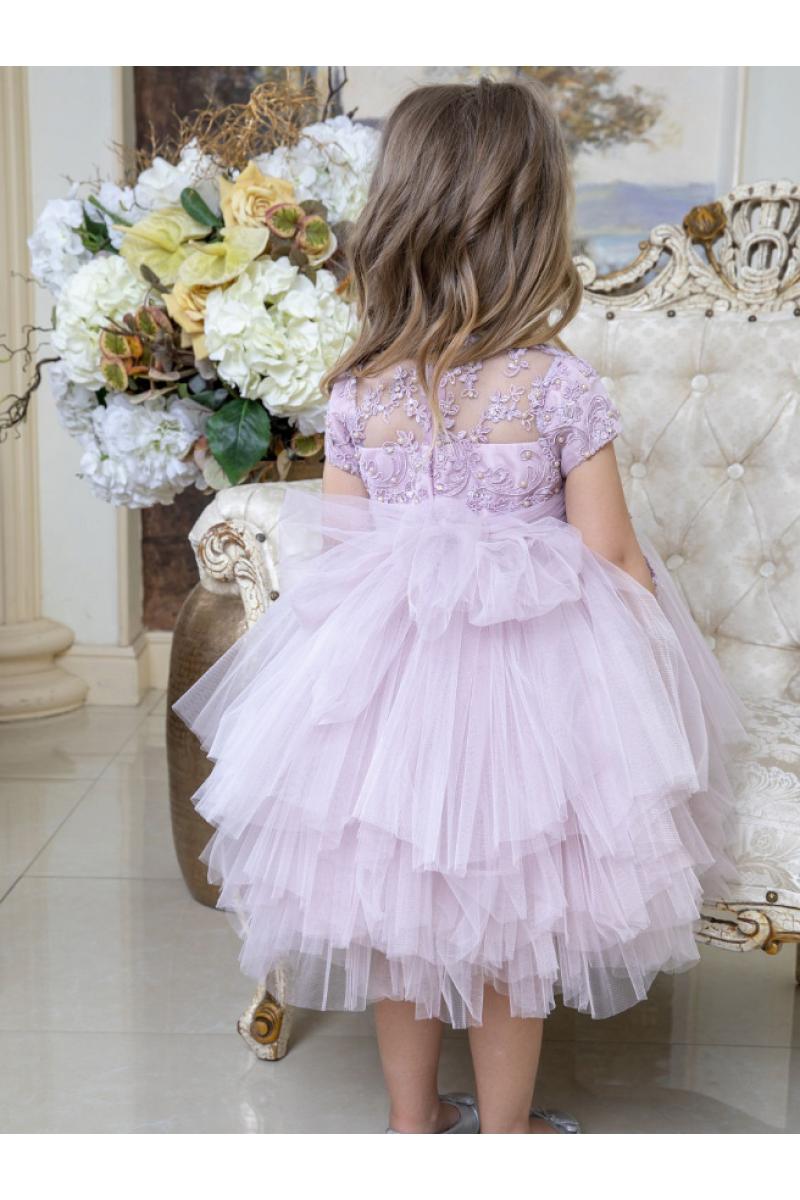 Платье с красивым цветком сиреневое