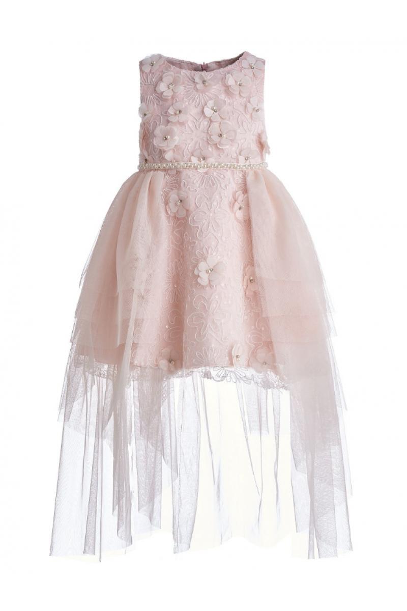 Длинное платье с жемчугом розовое