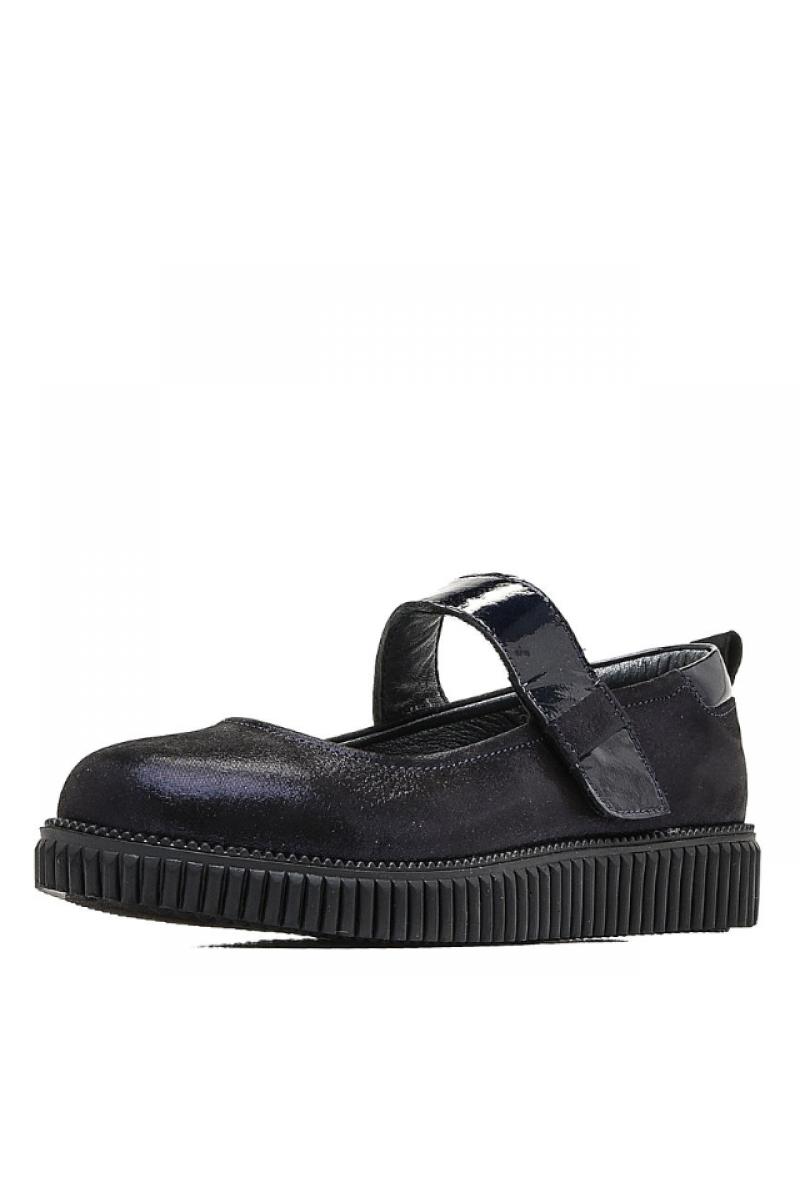 Туфли для девочки с бантиком на носу, синие