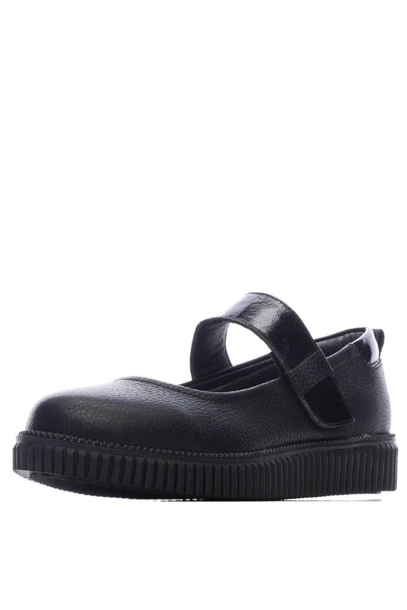 Туфли для девочки с бантиком на носу, черные