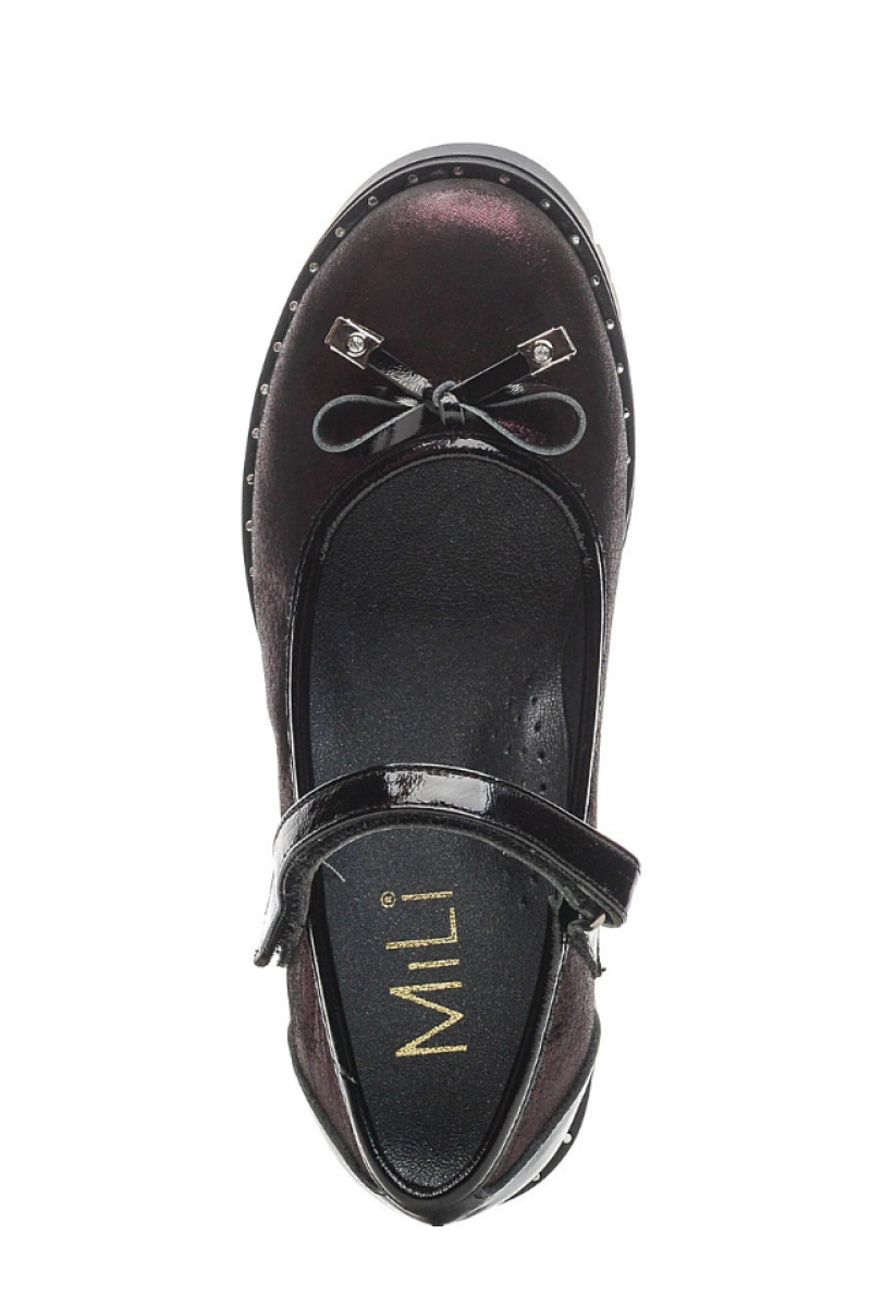 Туфли для девочки с бантиком, бордовые