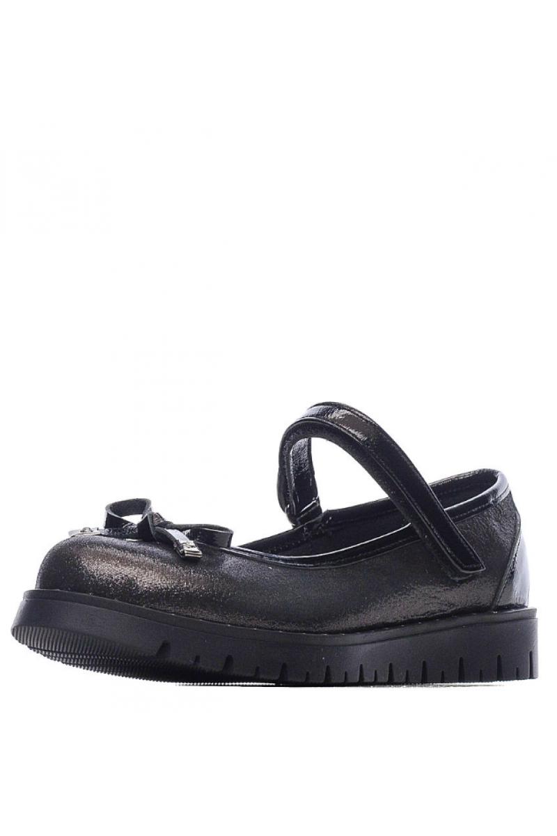 Туфли для девочки с бантиком, черные