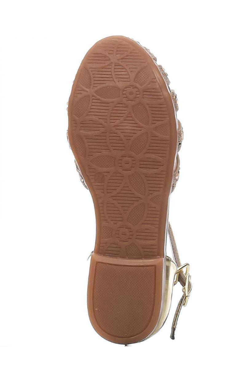 Туфли для девочки со стразами, золотые