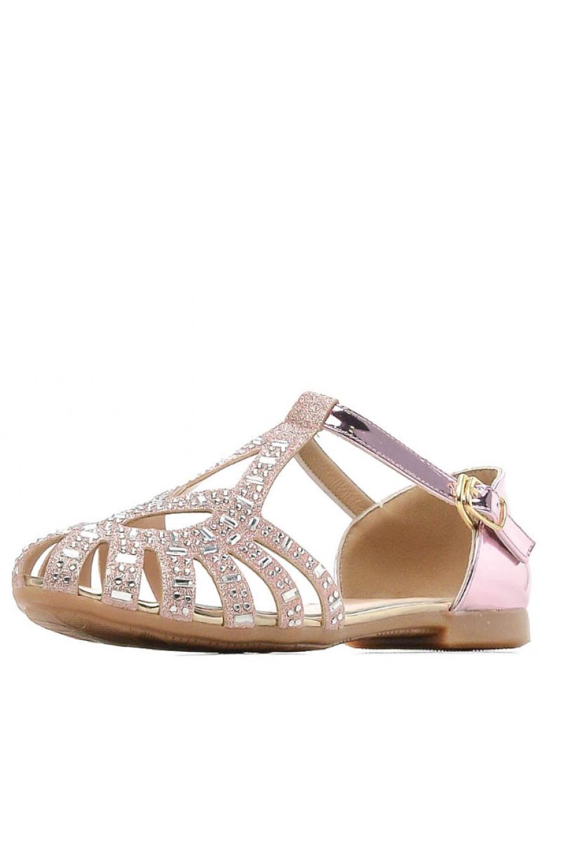 Туфли для девочки со стразами, розовые