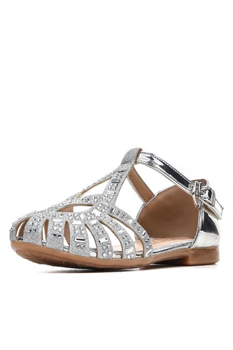 Туфли для девочки со стразами, серебристые