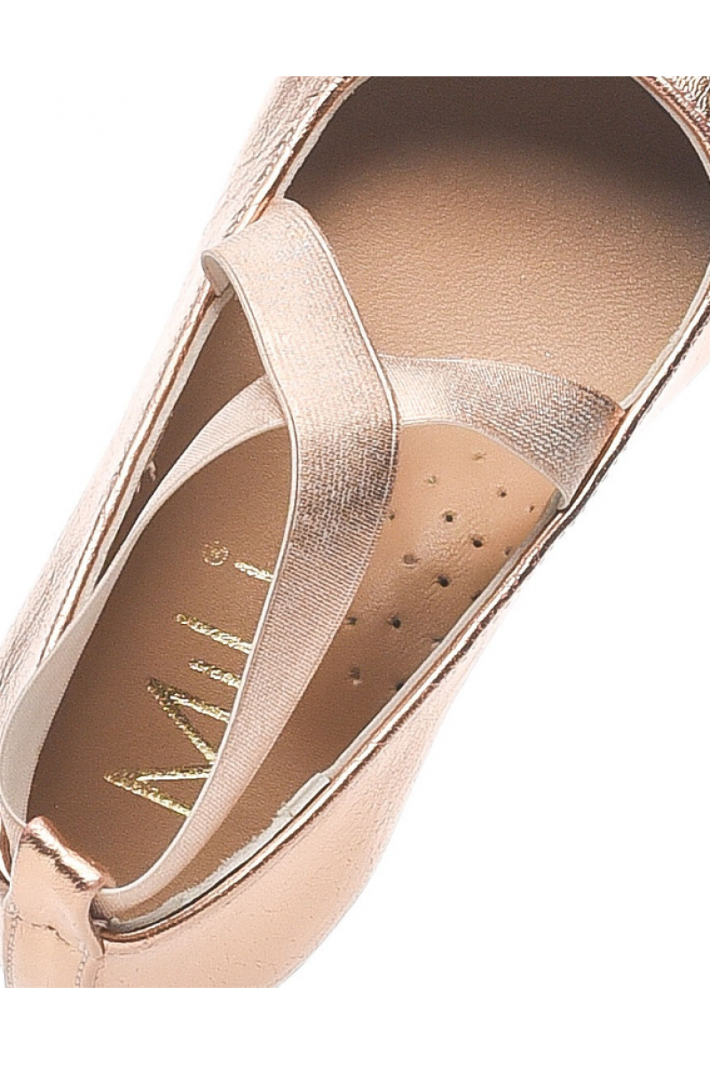 Туфли для девочки из искусственной кожи на резинке, бронзовые