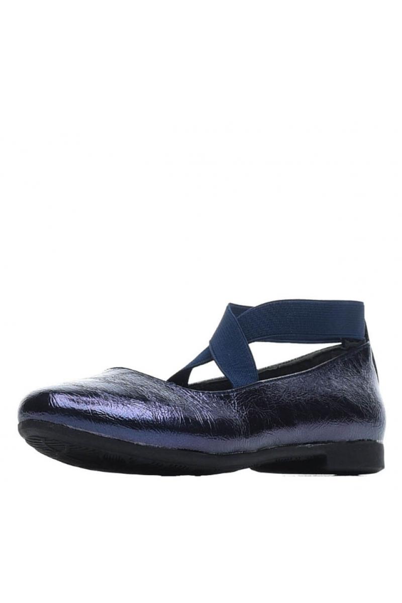 Туфли для девочки из искусственной кожи на резинке, темно-синие