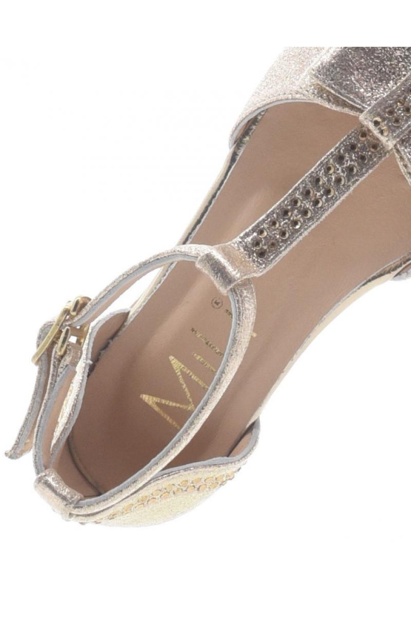 Туфли для девочки открытые с бантом, золотые