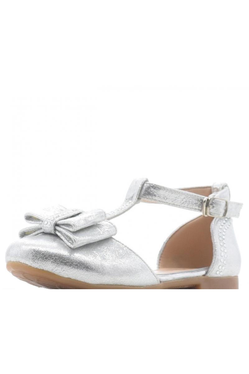Туфли для девочки открытые с бантом, серебристые