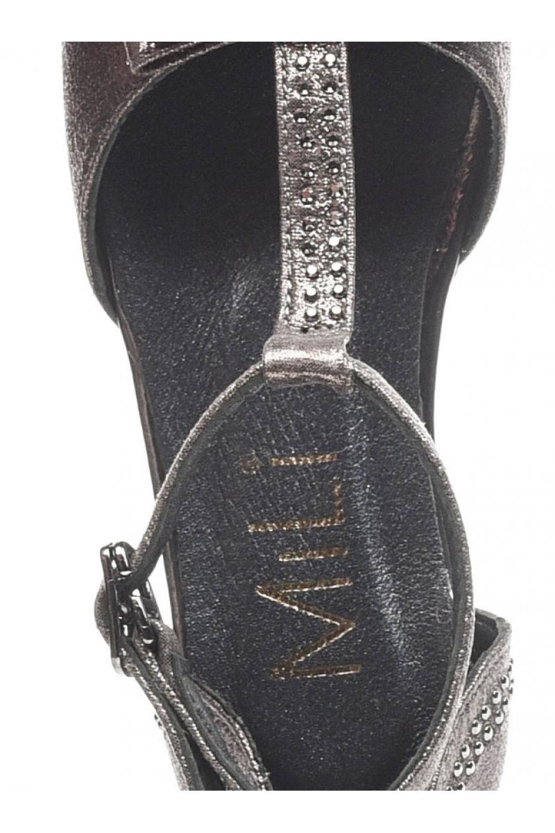 Туфли для девочки открытые с бантом, серые