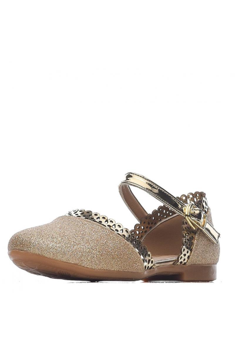 Туфли для девочки с перфорацией, золотые
