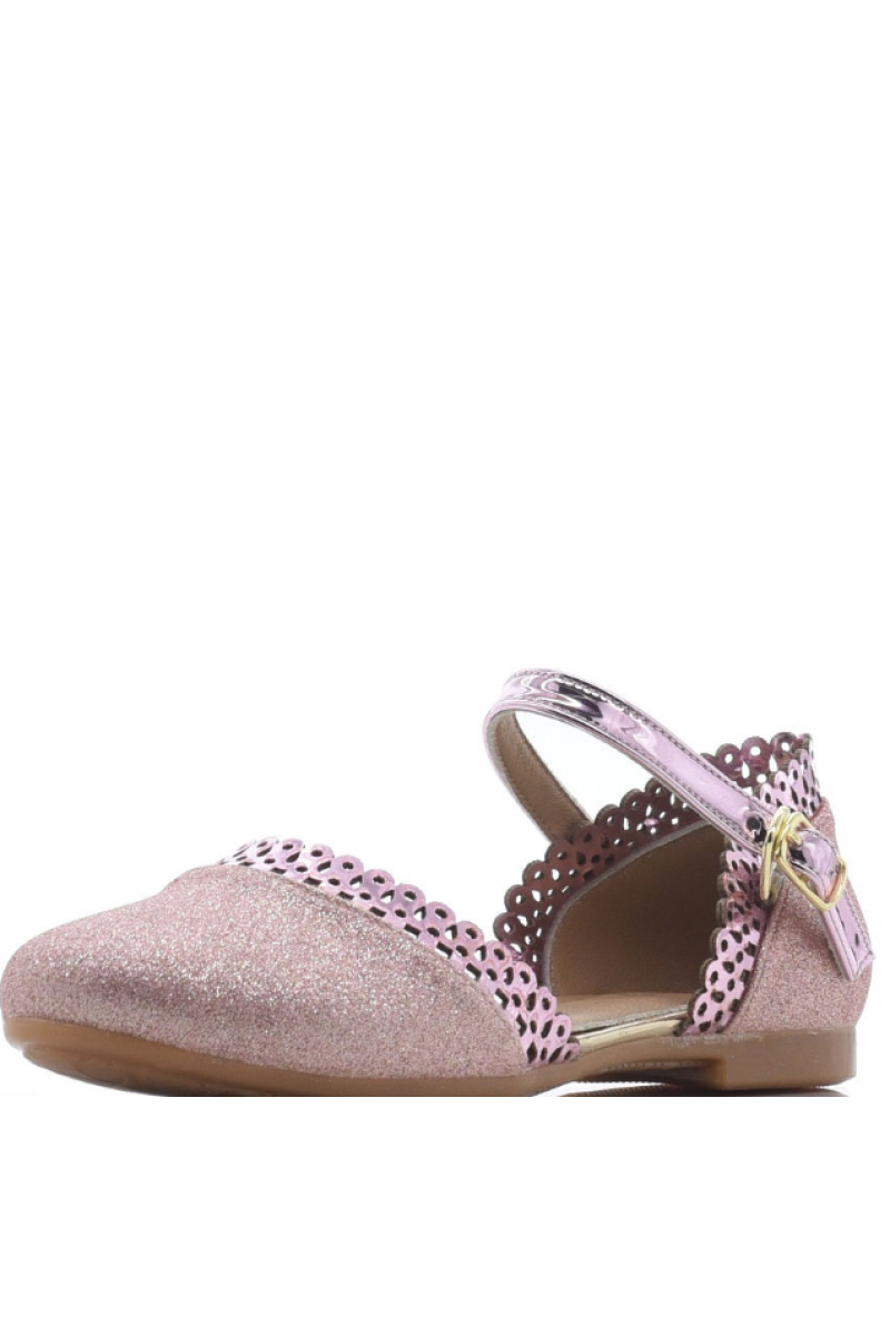 Туфли для девочки с перфорацией, розовые