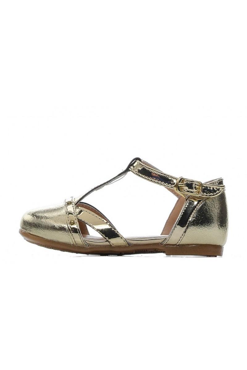 Туфли для девочки бело-золотые