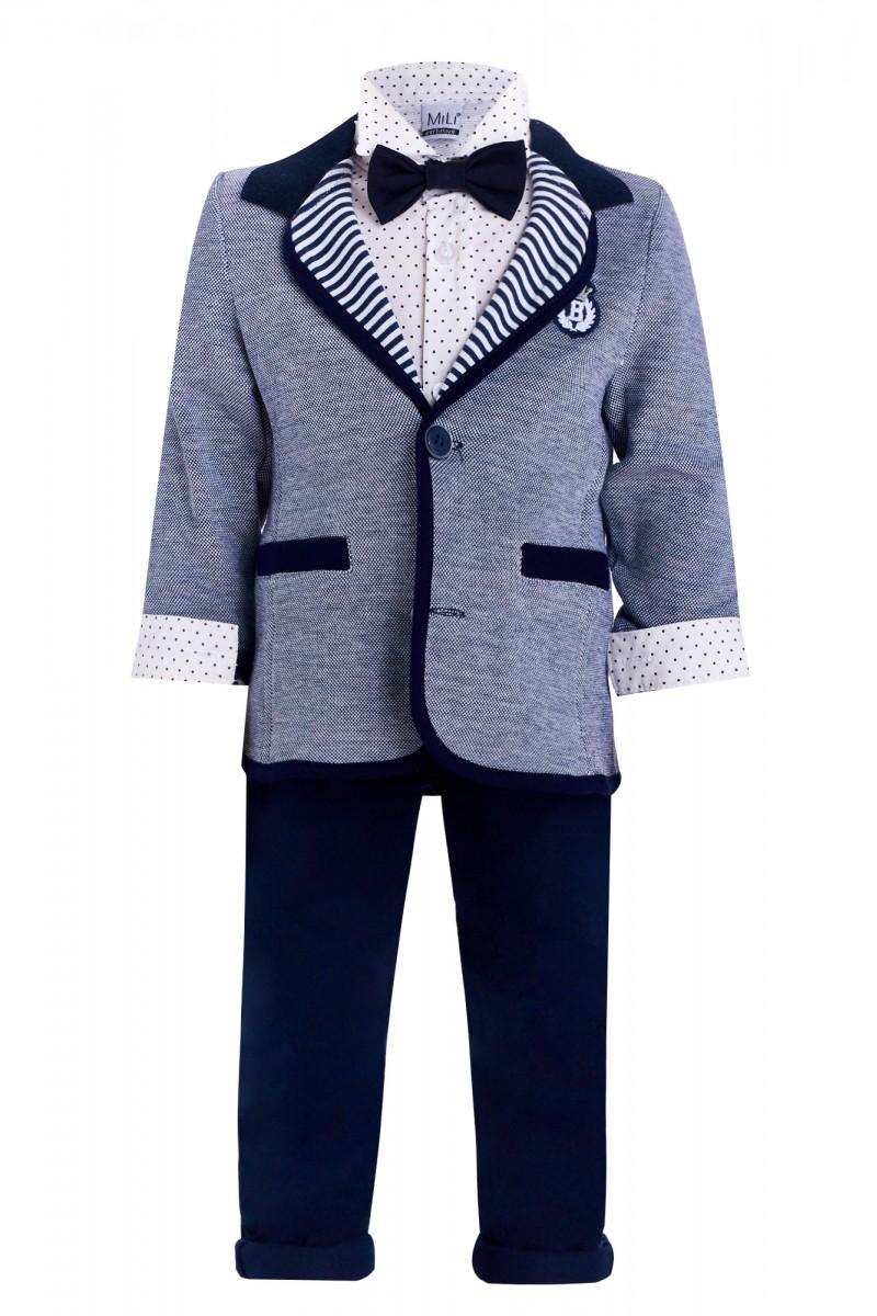 Синий костюм для мальчика с пиджаком и бабочкой