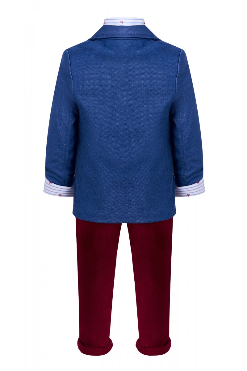 Синий костюм для мальчика с пиджаком и рубашкой с пальмами