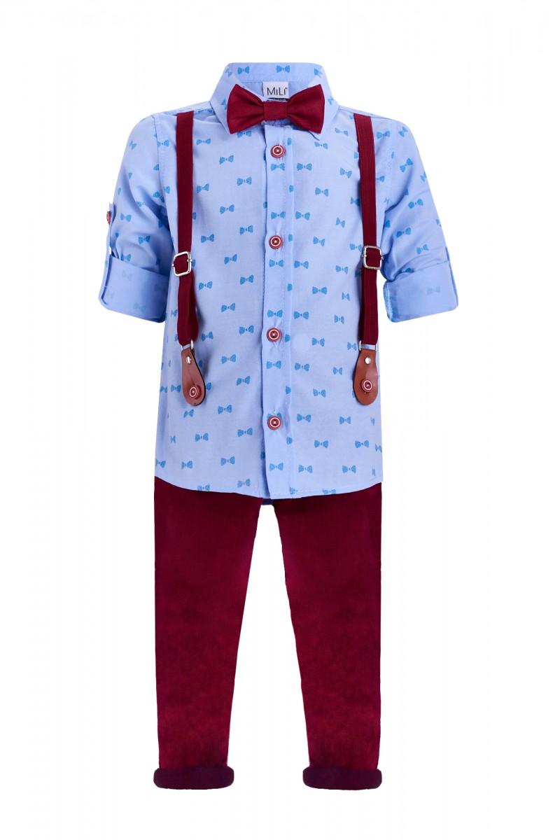 Костюм с брюками с подтяжками и рубашкой